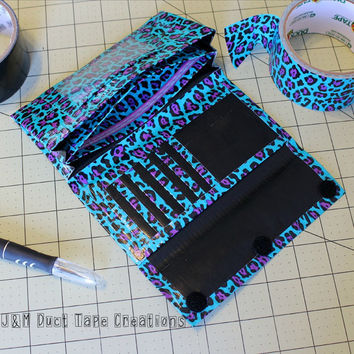 Womens Duct Tape Wallet, Accordion Trifold~Blue Leopard Print. Women Wallet/Trifold Wallet/Accordion Wallet/Homemade Wallet/Unique Wallet