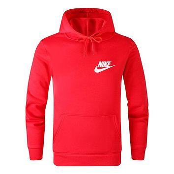 NIKE Autumn And Winter New Fashion Bust Letter Hook Print Leisure Women Men Hooded Long Sleeve Sweater Red