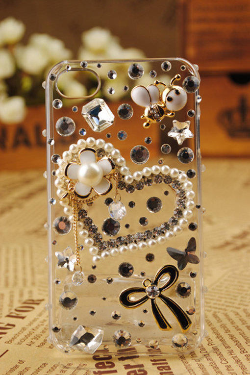 Gullei Trustmart : Heart Crystal Pearls Transparent iPhone4 Shell [GTM00524] - $44.00-Couple Gifts, Cool USB Drives, Stylish iPad/iPod/iPhone Cases & Home Decor Ideas