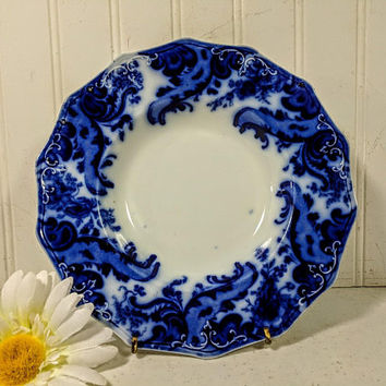 Flow Blue Soup Bowl Argyle Pattern W. H. Grindley & Co. England Blue and White Porcelain Soup Plate Fine China Dinnerware