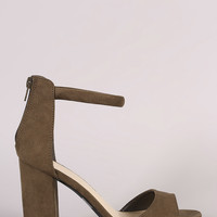 Qupid Suede Single Band Ankle Cuff Chunky Heel