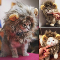Pet Costume Lion Mane Wig Cat Pets Halloween Dress Up With Ears Festival = 1929720260