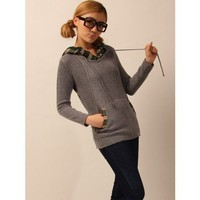 Two-piece Grey Knitting Hoodie Drawnstring Slim Fit Clothing Women One Size Sweater @JYF72068g