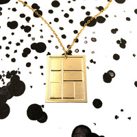 Gold Geometric Big Bar Necklace Art Mondrian Square Pattern Design Minimalist Simple Pendant Gold Filled And Silver Necklace Gift For Her