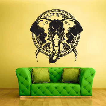 Wall Vinyl Sticker Decals Decor Art Bedroom Design Mural Ganesh Om Elephant Tattoo Head Mandala Tribal (z2367)