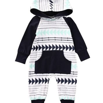 Kids Baby Boy Girl Warm Infant Geometric Pattern Romper Jumpsuit Long Sleeve Hooded Clothes Outfits
