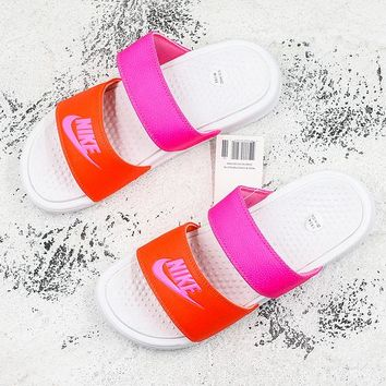 Nike Benassi Duo Ultra White Red Pink Slide Sandal Slipper - Best Deal Online