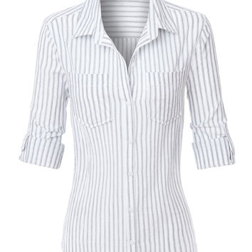 LE3NO Womens Lightweight Cotton Striped Button Down Shirt