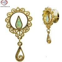 PAIR Tribal Fashion Waterdrop Dangle Fire Opal Ear Tunnel Plugs Gauges Piercing Expander Stretchers Body Jewelry