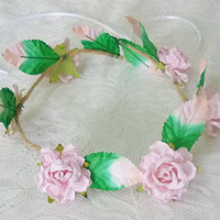 Light pink rose crown Rose headpiece / Flower crown/ Rustic Rose headpiece