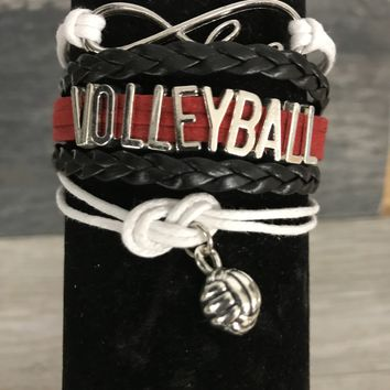 Volleyball Infinity Bracelet-Red