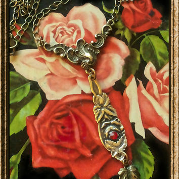 Handmade brass and red rose spoon necklace