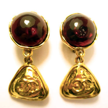 Authentic Chanel 1986 Vtg Red Gripoix Statement Dangle Clip Earrings