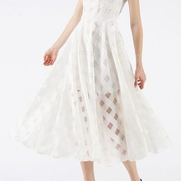 White Draped Round Neck Banquet Elegant Party Chiffon Midi Dress