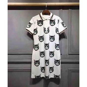 GUCCI Small Fresh Women Stylish Cartoon Cat Print Short Sleeve Lapel Dress White I-G-JGYF