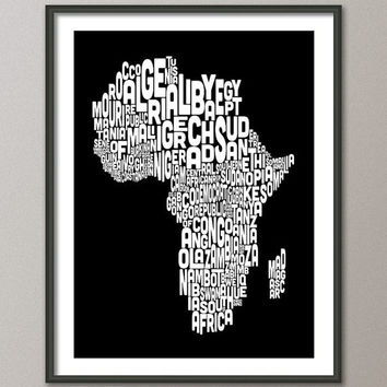 Map of Africa Map, Text Art Print 18x24 inch (774) - color options