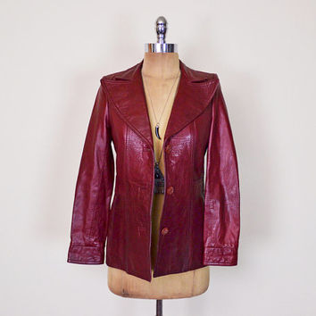 Vintage 70s Wilsons Leather Jacket Oxblood Maroon Burgundy Leather Coat Leather Blazer Jacket 70s Jacket 70s Hippie Jacket Boho Jacket XS S