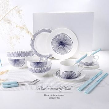 Blue and White Mediterranean Style Simple European-style High-grade Bone China Ceramic Plate Dish Bowl Set Gift Wedding Gift