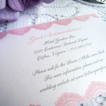 Pink Lace Wedding Enclosure Cards, Wedding Reception Cards, Guest Accommodation Cards, Elegant, Pink Enclosure Card - DEPOSIT to get started