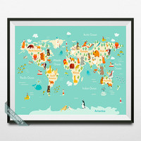 Animal World Map Print, World Map Poster, Animal Map, Animal Print, Wall Art, Nursery Decor, Room Decor, Kids Bedroom Decor, Back To School