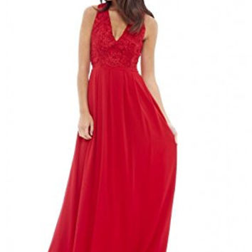 Red Sleeveless Floral Lace V-Neck Pleated Maxi Dress