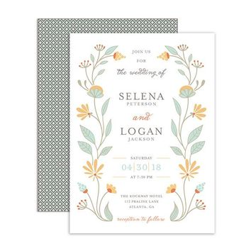 Floral Garland - Wedding Invitation