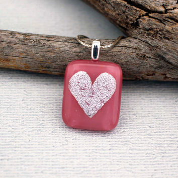 Pink Heart Pendant Necklace - Valentines Day Jewelry - Girlfriend Jewelry - Valentines Necklace - Pink Heart Necklace - Valentines Jewelry