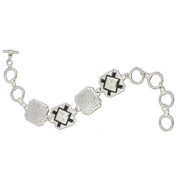 Montana Silversmiths Black Diamonds and Hammered Silver Link Bracelet - BC1126