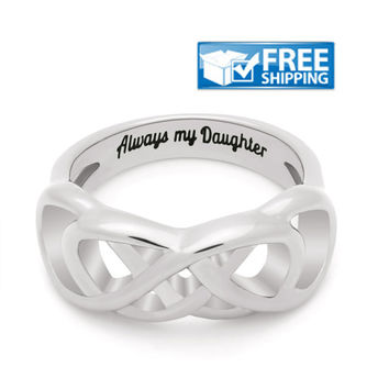 "Daughter Gift - Infinity Promise Daughter Ring Engraved on Inside with ""Always My Daughter"", Sizes 6 to 9"