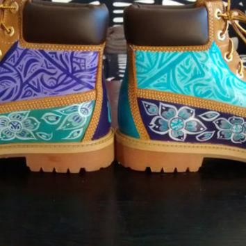 Teal & Purple Custom Painted Timberland Boots