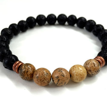 Men's Black & Brown Bracelet. Stretch Bracelet. Elastic Bracelet. Lava, Jasper Beaded Bracelet. Gift for Men. Unisex Bracelet