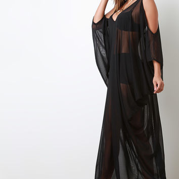 Mesh Cold Shoulders Maxi Overlay Dress