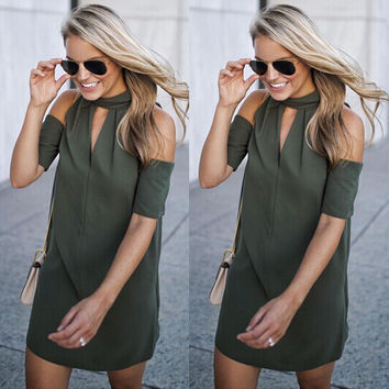 NEW Women Summer Casual Off Shoulder Evening Party Dress Hollow Out Loose Short Mini Dresses