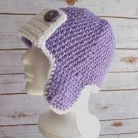 Crochet Aviator Hat-Crochet Bomber Hat- Aviator Hat-Bomber Hat-Crochet Fun Hat-Crochet Earflap Hat. Available in different sizes