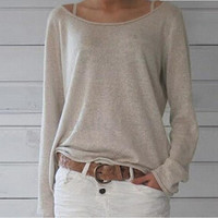 Casual Loose Off-shoulder Long Sleeves Pure Color Blouse