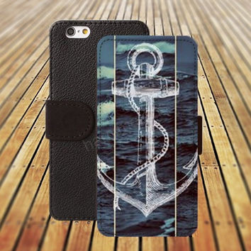 iphone 5 5s case anchor Sea iphone 4/ 4s iPhone 6 6 Plus iphone 5C Wallet Case , iPhone 5 Case, Cover, Cases colorful pattern L080