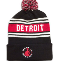 Detroit Hockey Style Knit Cap - Black | Made In Detroit