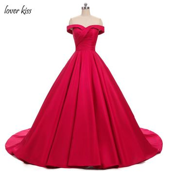 Lover Kiss  Vestido De Festa Elegant Off The Shoulder Evening Gowns Formal Carpet Wear Pleated Satin Red Ball Gown Prom Dresses