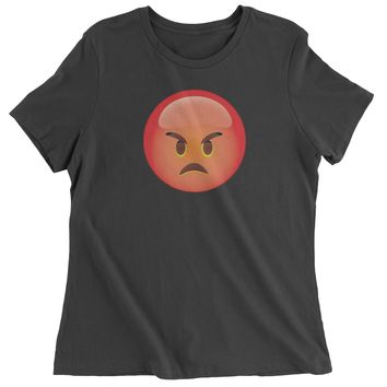 Color Emoticon - Red Angry Face Smiley Womens T-shirt
