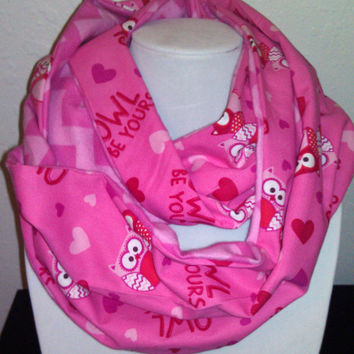 Pink Owl Infinity Scarf - Chevron Flannel - Cute Fashion Cowl with Hearts