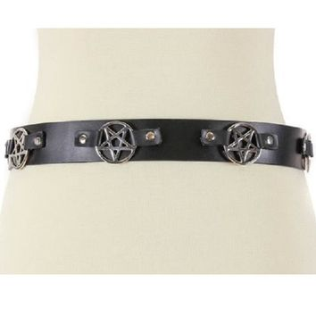 "Silver 2"" Inverted Pentagram Black Leather Belt 1-1/2"" Wide"