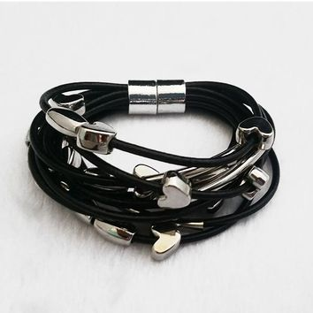 Stacked Hearts Leather Bracelet