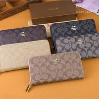 """Coach"" Women Multifunction Purse Clutch Fashion Classic Letter Logo Print Long Section Zip Wallet"