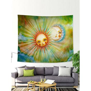 Comic Sun & Moon Print Tapestry