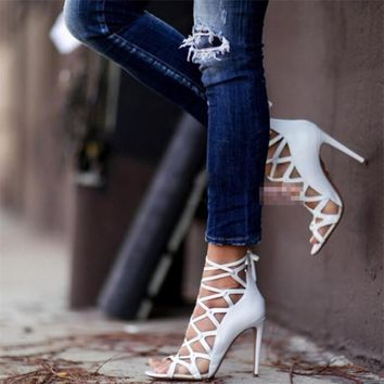Gladiator High Heel Mesh Stiletto Sandal