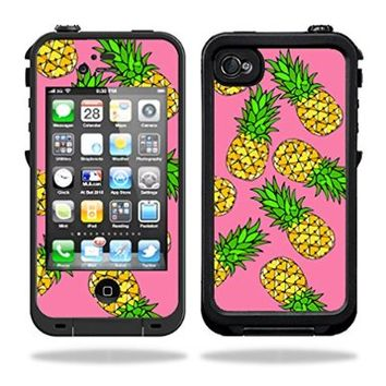 Skins Kit for Lifeproof iPhone 4 Case (skins/decals only) - Pineapple Design on pink. Hawaiian design