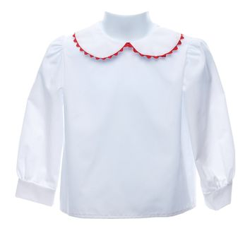 Long Sleeve Blouse with Red Ric Rac Trim