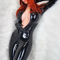 Women Latex Catsuit Open Bust&Crotchless Erotic Faux Leather Jumpsuit Porn Bodysuit Fetish Gothic Teddy Costume For Female