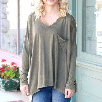 Acid Wash Slouchy Long Sleeve Pocket Top {Olive}
