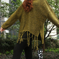Yellow V-neck Mix Yarn Knit Tasseled Hem Sweater